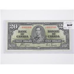 Bank of Canada 1937 - Twenty Dollar Note. J/E (SGR