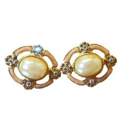 Dainty Faux Pearl Enamel Vintage 1928 Co. Flower X Sweet Pierced Earrings