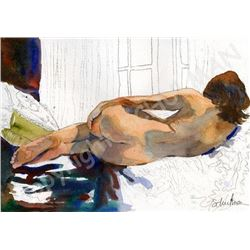 Signed Print, Female Nude Study From Watercolor Painting