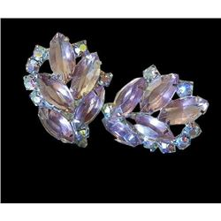 Vintage 1960's Juliana Gorgeous Lavender Stunning Rhinestone Clip Earrings