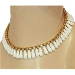 Stunning High End Vintage 50's White Glass Rhinestone Cleopatra Necklace
