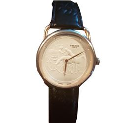 Unique Hermes Arceau Promenade de Longchamp Quartz Watch with Special White Dial Wristwatch