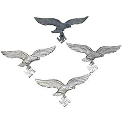 WWII Group of Nazi Luftwaffe Hat Visor Eagle Badges