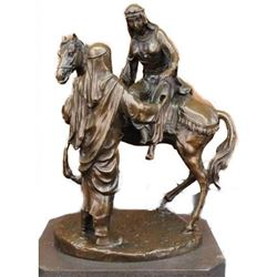 Large Arabian Man Helping his wife Bronze Marble Base Sculpture Statue by Barye