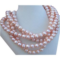 """10-11mm Natual Pink South Sea Pearl 14kt Gold 50"""" Necklace 50""""14k Gold Clasp"""