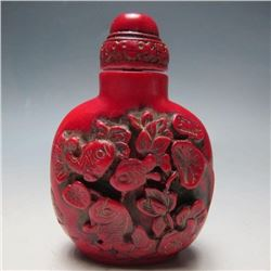 Vintage Hand-carved Chinese Cinnabar Goldfish Snuff Medicine Bottle