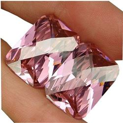 63.5ct. Beautiful Pair Intense Sweet Pink Kunzite Emerald With Checkerboard