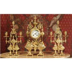 c1890 Japy Freres French Gilt Clock Set