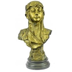 Art Deco Gilt Bronze Female Goddess Bust Bronze Sculpture Great Detail Statue