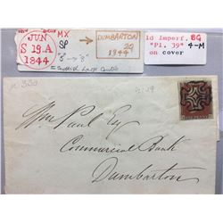 1844 London Original Postmarked Handwritten Envelope with Typed Letter