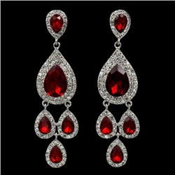 Rhodium Plated Red Crystal Rhinestone Chandelier Drop Dangle Earrings