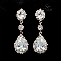 Rhodium Plated Clear Crystal Rhinestone Drop Dangle Earrings