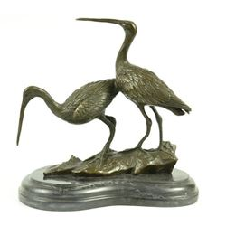 Original Signed two Wildlife Crane Cranes Pond Garden Bronze Sculpture Statue
