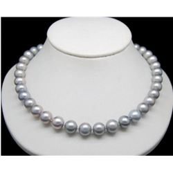 """9-10mm Natural Gray South Sea Pearl 14kt Gold 18"""" Necklace"""