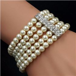 Cream White Glass Pearl Multi-strand Stretch Bracelet