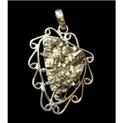 Large Abstract Sterling Pyrite Pendant