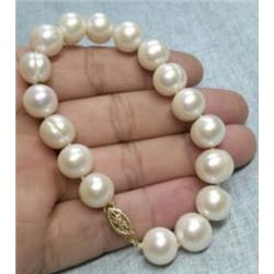 """Aaa 10-11mm South Sea White Baroque Pearl Bracelet 7.5-8"""" 14k Gold Clasp"""