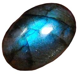 18.60 Cts Aaa Natural Labradorite Blue Flahsy Loose Gemstone Oval Shape Cabochon