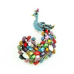 Teal Blue Rhinestone Peacock Brooch