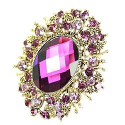 Rhinestone Crystal Amethyst Purple Brooch.