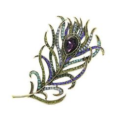 Crystal Amethyst Purple Rhinestone Feather Brooch.