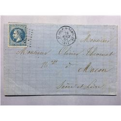 1868 French Original Postmarked Handwritten Envelope with Letter