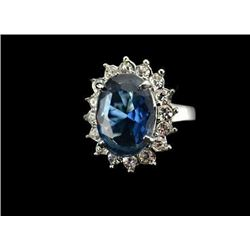 Princess Diana Style Blue Crystal Cruise Ring