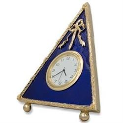 """5"""" Faberge-Inspired Blue Triangle Enameled Guilloche Russian Antique Style Clock"""