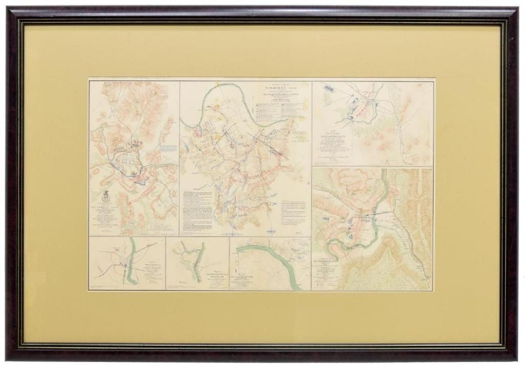 Framed Civil War Records Map, Nashville, More