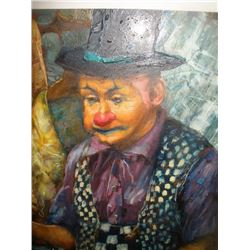 Mid 20thc Signed Painting, Russian Juggler Clown