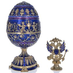 1912 Tsarevich Faberge-Inspired Egg 5.5""