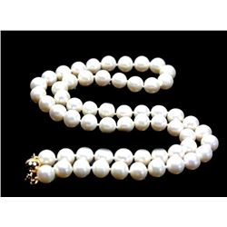 Stunning 14k Gold Clasp Aaa+ 8-9mm White Akoya Cultured Round Pearl Necklace 18""