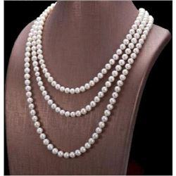 "50"" Aaa 7-8mm Aaa Natural South Sea White Pearl Necklace 14k Gold Clasp"