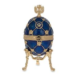"""4.8"""" Russian Coat Of Arms Blue Royal Inspired Russian Faberge-Inspired Egg"""