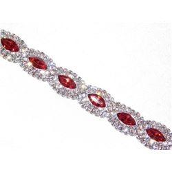 Red Ruby Marquise And Round Rhinestone Crystal Bracelet
