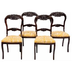 VICTORIAN BALLOON BACK SIDE CHAIRS FOUR