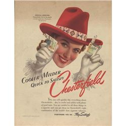 1941 Chesterfield Cigarettes Ad, The Round Up Girl