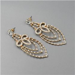 Art Deco-style 18kt Gold Plated Drop Earrings