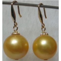 Aaa Golden South Sea Pearl Earrings 9-10mm 14k Gold Earring