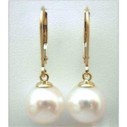 Aaa 12-11mm Genuine South Sea White Natural Pearl Earrings 14k Yellow Gold