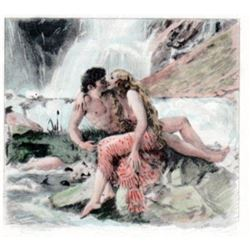 Paul Emille Becat Erotica Nude Seductress Woman Waterfall P. Becat Vintage Art Matted