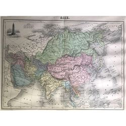 Early color French map of Asie (Asia).