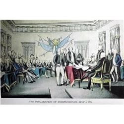 After Nathaniel Currier, Fine Art Modern Lithograph, The DeclarationOf Independence - 1776