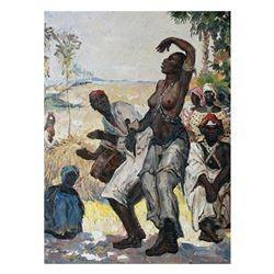 20thc Impressionism, African Dance Oil Painting