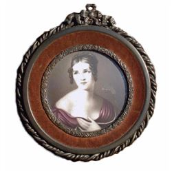Antique Miniature Portrait of a Lady