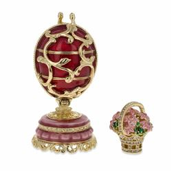 1899-1903 Spring Flowers In Red Russian Faberge-Inspired Egg 3""