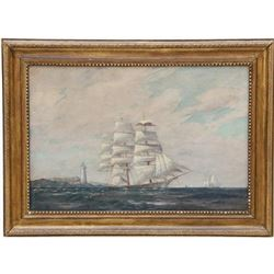 Signed T. Bailey, Clipper Ship Oil Painting