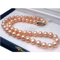 """18"""" AAA 9-10mm South Sea Genuine Pink Pearl Necklace with 14k Clasp"""