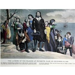 After Nathaniel Currier, Fine Art Modern Lithograph, The Landing Of The Pilgrims At Plymouth -1620