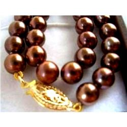 """Huge Aaa 10-11mm South Sea Chocolate Pearl Necklace 18"""" 14k Gold Clasp"""